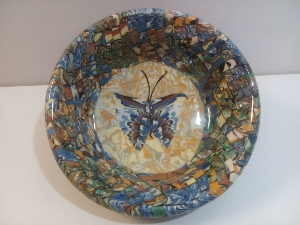 Coupelle ronde mosaique papillon bleu